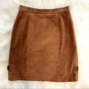 Vintage Tan Suede Leather High Waist Pencil Skirt